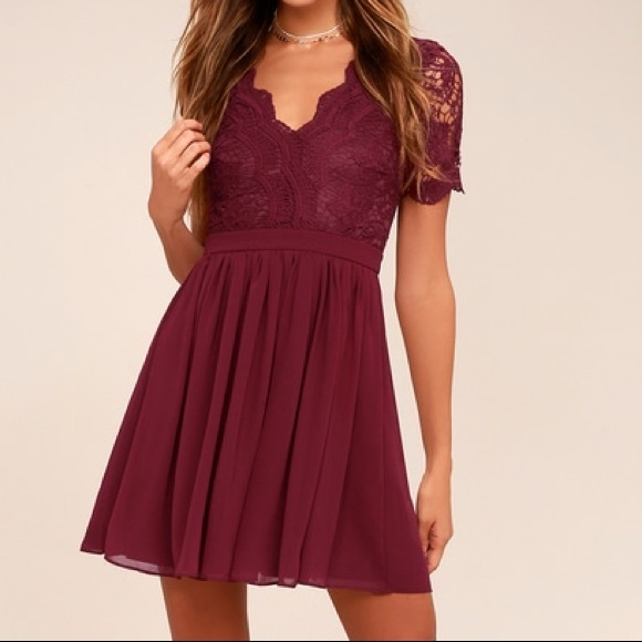 Lulu's Dresses & Skirts - Lulu's • Burgundy lace skater dress